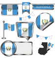 Glossy icons with Guatemalan flag vector image vector image