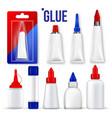 glue set bottle tube stick super fast vector image