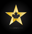 Golden Star with Canadian maple Leaf on black vector image vector image