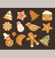 happy holidays christmas traditonal cookies vector image vector image