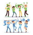 happy sports fun teams group shouting supporting vector image