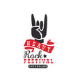 heavy rock festival logo design element with rock vector image vector image