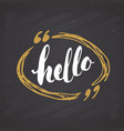 hello lettering sign hand drawn greeting word vector image