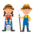 isolated young farmer on white background vector image vector image