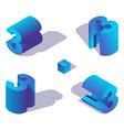 isometric numder 3 in various foreshortening vector image vector image