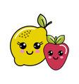 kawaii happy lemon and strawberry icon vector image vector image