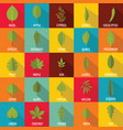 leaf icons set flat style vector image vector image