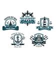 Nautival various heraldic designs vector image vector image