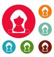 new woman user icons circle set vector image vector image