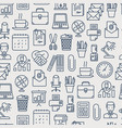 office seamless pattern with thin line icons vector image vector image