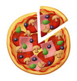 pizza with sausages ham muchrooms top view vector image vector image