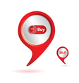 pointer red with buy icon color vector image