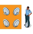Police officer on One-wheeled Self-balancing vector image vector image