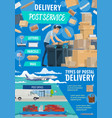 post service delivery poster with postman and mail vector image vector image