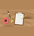 project notes with clipboard and paper work vector image vector image