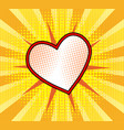 red heart with dot on yellow stripped background vector image vector image
