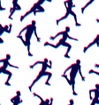 Runners realistic silhouettes seamless background