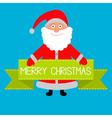 Santa Claus and big green ribbon Merry Christmas c vector image vector image