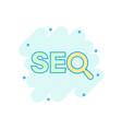 seo analytics icon in comic style social media vector image vector image