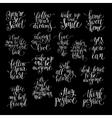 set of handwritten positive inspirational quotes vector image vector image
