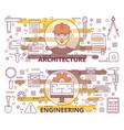 set of modern thin line architecture