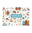 set traditional symbols sweden and stockholm vector image