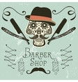 Skull with mustache and hat vector image vector image
