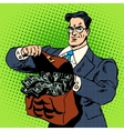super businessman suitcase money vector image vector image