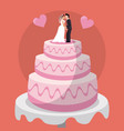 sweet cake couple dolls wedding vector image vector image