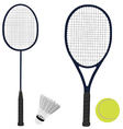 tennis and badminton racket shuttlecock tennis vector image
