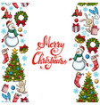 vertical seamless borders with christmas icons vector image vector image