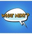 what next retro comic bubble text vector image vector image