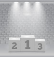 white winners podium spotlight pedestal vector image