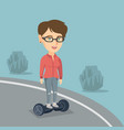 woman riding a self-balancing electric scooter vector image vector image