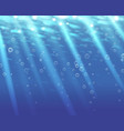 Deep blue water background with bubbles vector image