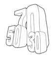 30 50 70 percent sale icon outline style vector image vector image