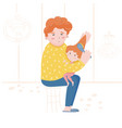 a father combing his daughters hair caring for a vector image vector image
