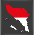 aceh indonesia map with indonesian national flag vector image