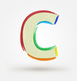 Alphabet letter C Watercolor paint design element vector image
