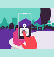augmented reality city tourism mobile app concept vector image