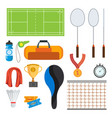 badminton icons set badminton accessories vector image