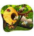 Bees and bugs in the tree vector image