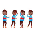 boy schoolboy kid poses set black afro vector image vector image