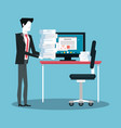 businessman working avatar vector image vector image