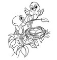 cartoon bird egg in nest coloring page vector image vector image