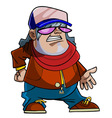 cartoon character guy in a cap scarf vector image vector image