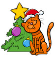 cat with christmas tree cartoon vector image vector image