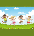children jumping on a meadow vector image