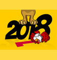 comic cartoon dpg rooster 2018 new year vector image vector image