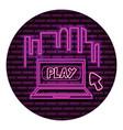 computer play arrow neon video game wall vector image